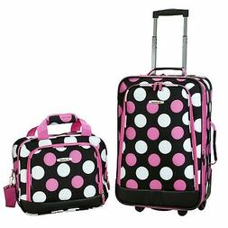Rockland Multi Pink Dot 2-piece Lightweight Carry-on Luggage