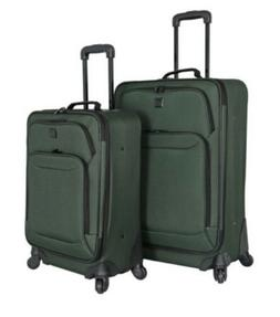 New 2 Piece Protege Green Rolling Wheels Travelers Club Lugg