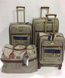 NEW NICOLE MILLER  4 PC BROWN HOUNDSTOOTH EXPANDABLE LUGGAGE
