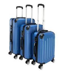 New Blue 3 Pieces Travel Luggage Set Bag ABS Trolley Carry O