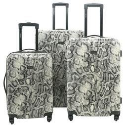 Kensie New GRAY SNAKE Luggage 3 PC  SET NOT Expandable Hard