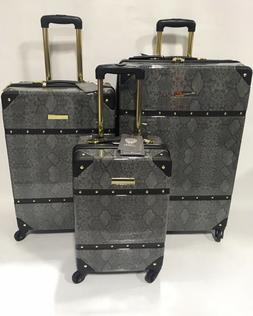 NEW VINCE CAMUTO INDIGOH PYTHON 3PC LUGGAGE SET SPINNER GOLD