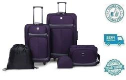 New 5pc Purple Upright Rolling Luggage Set Travel Bag Tote W