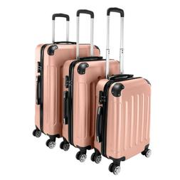 New Pink 3 Pieces Travel Luggage Set Bag ABS Trolley Carry O