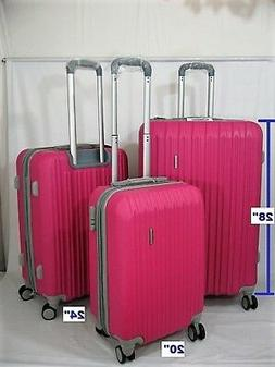 """NWT PINK ABS HARDCASE SPINNER SUITCASE LUGGAGE UPRIGHT 20""""24"""