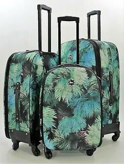NWT POLYESTER FLOWER PRINT SPINNER SUITCASE LUGGAGE UPRIGHT