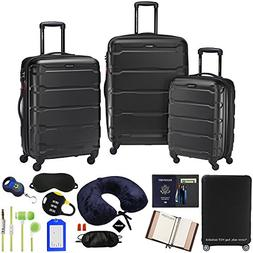 Samsonite Omni 3-Piece Nested Spinner Set - Black with Lugga