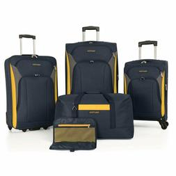 Nautica Open Seas 5 Piece Luggage-Set, Navy/Yellow