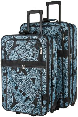 Paisley Expandable 2 pc Piece Luggage Set for Travel Soft Si
