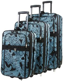 Paisley Expandable 3 pc Piece Luggage Set for Travel Soft Si