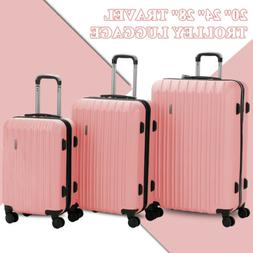 Pink 3 Piece ABS Luggage Set Light Travel Case Hardshell Sui