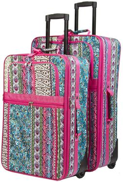 Pink Boho Expandable 2 pc Piece Luggage Set for Travel Soft