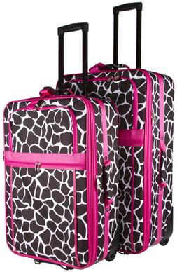 Pink Giraffe Expandable 2 pc Piece Luggage Set for Travel So