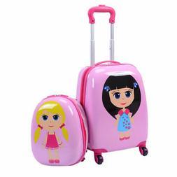 "Pink Girls 2 pcs 12"" & 16"" Kids Suitcase & Backpack Luggage"