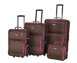 Rockland 4 PC PINK LEOPARD LUGGAGE SET F125-PINKLEOPARD Lugg
