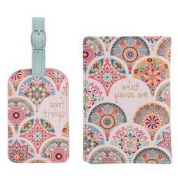 Karma Gifts Pink Medallion Passport Holder and Luggage Tag S