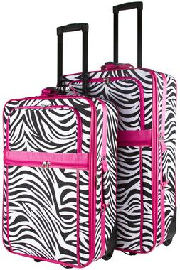 Pink Zebra Expandable 2 pc Piece Luggage Set for Travel Soft