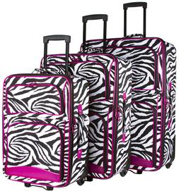 Pink Zebra Expandable 3 pc Piece Luggage Set for Travel Soft