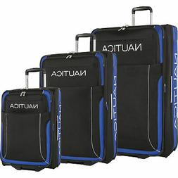Nautica Point of Sail Black Cobalt 3 Piece Luggage Set