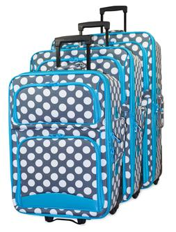 Polka Dot Expandable 3 pc Piece Luggage Set for Travel Soft