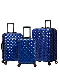 Rockland Quilt 3 Piece Polycarbonate/abs Upright Set, Blue