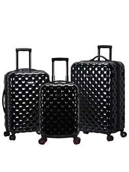 Rockland Quilt 3 Piece Polycarbonate/abs Upright Set, Black
