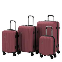 red 4 piece abs luggage set light