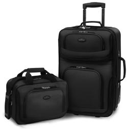 Rio 2-Piece Black Expandable Carry-On Luggage Set