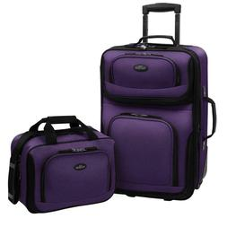 Rio 2 Piece Expandable Carry On Luggage Set Purple Full inte