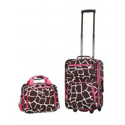 ROCKLAND 2 PC PINK GIRAFFE LUGGAGE SET Expandable Heavy Duty