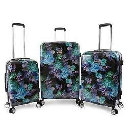BEBE Rosette 3 Piece Set Suitcase with Spinner Wheels Luggag