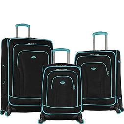Olympia Santa Fe Spinner Luggage, Black/Mint