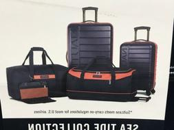 Nautica Sea Tide 5 Piece Hardside Spinner Luggage Set Navy /