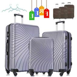 3 Piece ABS Luggage Sets Travel Suitcase Spinner Hardshell L