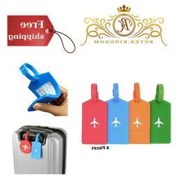 Set Of 4 Unique Travel Luggage Bag Tags Suitcase Labels For