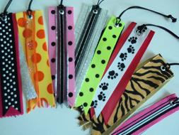 Set of 8 Bright Color Travel Luggage Tags Ribbon Easy To Spo