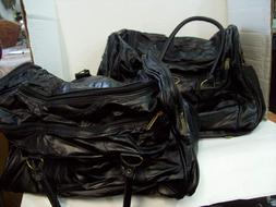 Set of Two Black Patchwork Leather Duffle Bags Travel Luggag