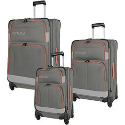 Nautica Unisex Shipline 3-Piece Luggage Set Charcoal Grey/Or