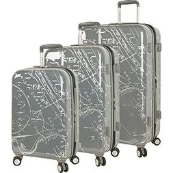 Nautica Shipyard 3 Piece Hardside Suitcase Set, Map-Grey