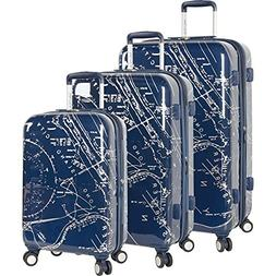 Nautica Shipyard 3 Piece Hardside Suitcase Set, Map-Navy
