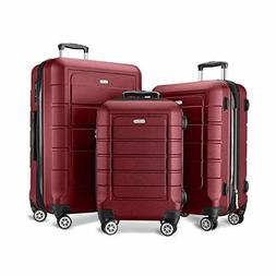3 Luggage Set Expandable PC & ABS Durable Suitcase with Doub