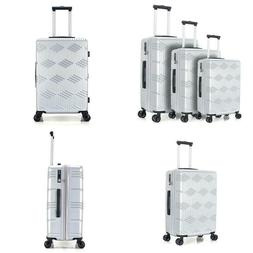 Silver 3-Piece Expandable Lightweight Spinner Luggage Set