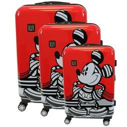 Disney Striped Mickey Mouse Hard Sided Rolling, Spinner Lugg