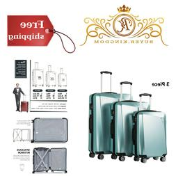 "Sturdy Hard Shell Luggage Spinner Suitcase 20"" 24"" 28"" 3 Pie"