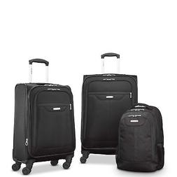tenacity 3 piece luggage set black blue