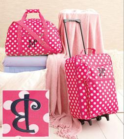 Travel Luggage Girls Set Pink White Polka Dot Fabric Suitcas