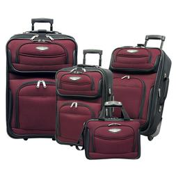 Traveler Choice Red Amsterdam 4-Piece Expandable Wheel Lugga