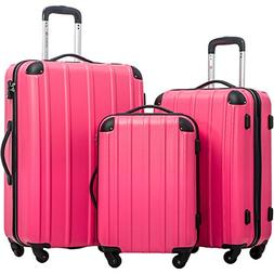 Merax Travelhouse Mixed Color 3 Piece Spinner Luggage Set wi