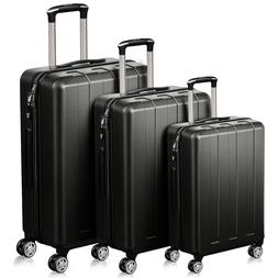 QuaCity Trolley Sets of 3 Piece PC+ABS Spinner Hard Shell Lu