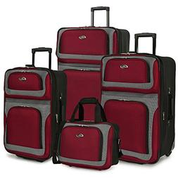 U.S. Traveler New Yorker 4-Piece Luggage Set in Red